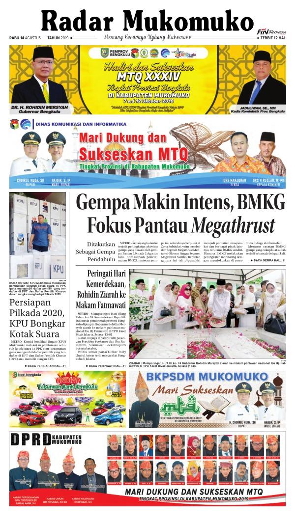 Koran Radar Mukomuko - Edisi 14 Agustus 2019