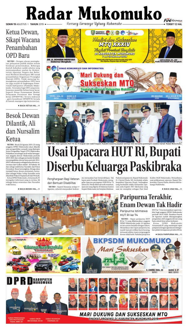 Koran Radar Mukomuko - Edisi 19 Agustus 2019