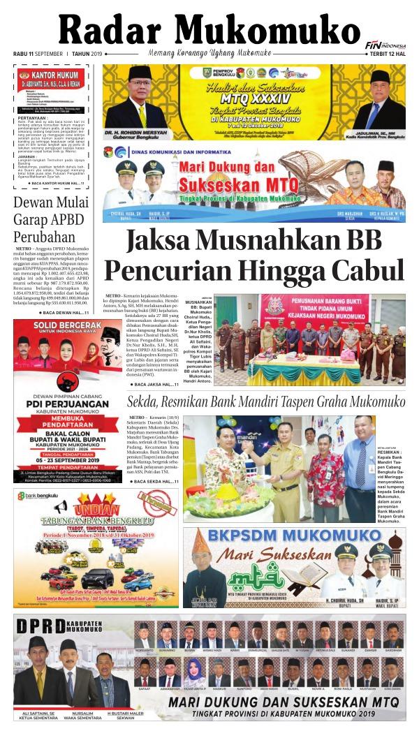Koran Radar Mukomuko - Edisi 11 September 2019