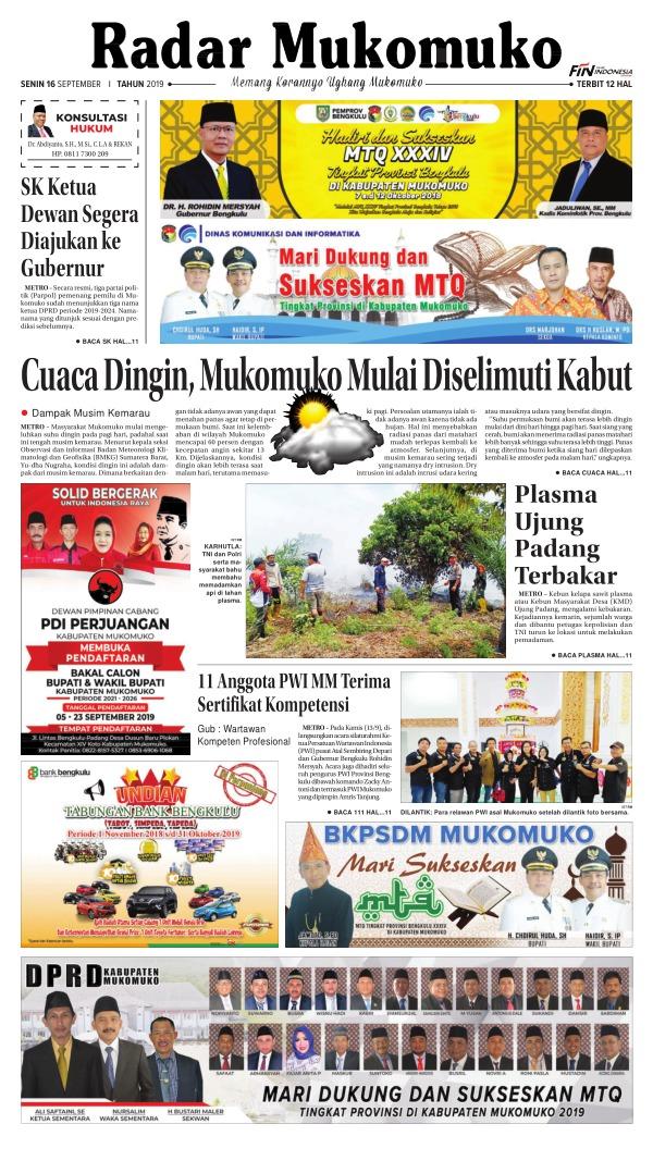 Koran Radar Mukomuko - Edisi 16 September 2019