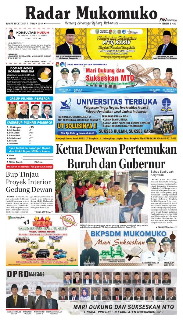 Koran Radar Mukomuko - Edisi 11 Oktober 2019