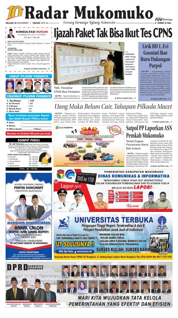 Koran Radar Mukomuko - Edisi 12 November 2019