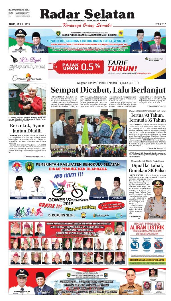 Koran Radar Selatan - Edisi 11 Juli 2019