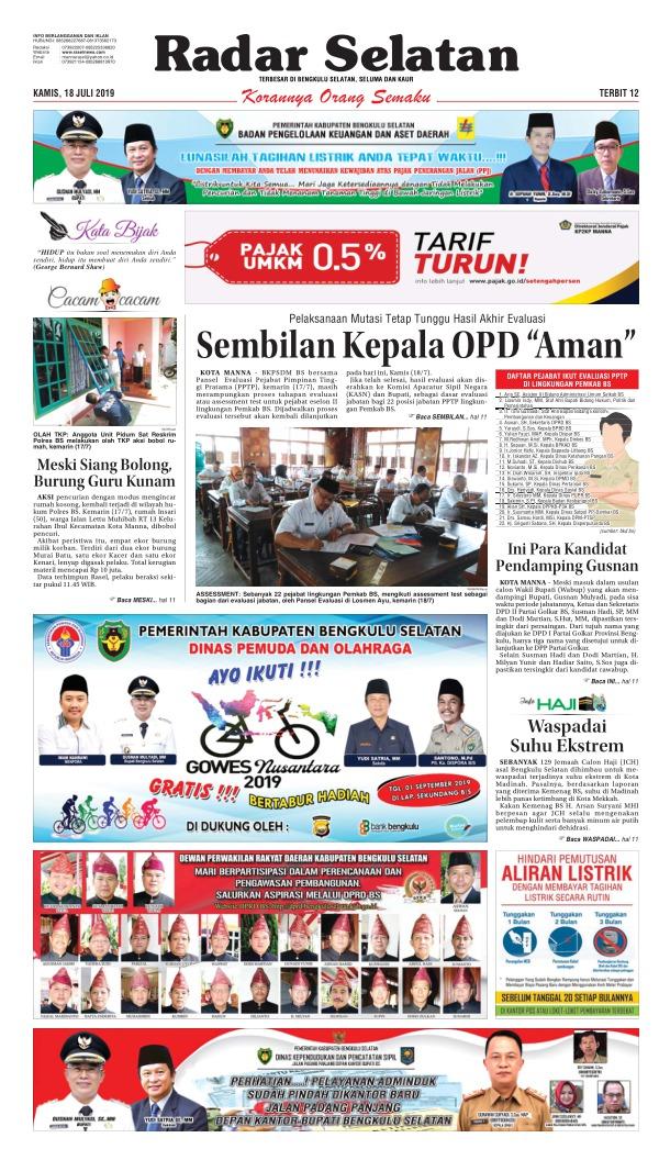 Koran Radar Selatan - Edisi 18 Juli 2019