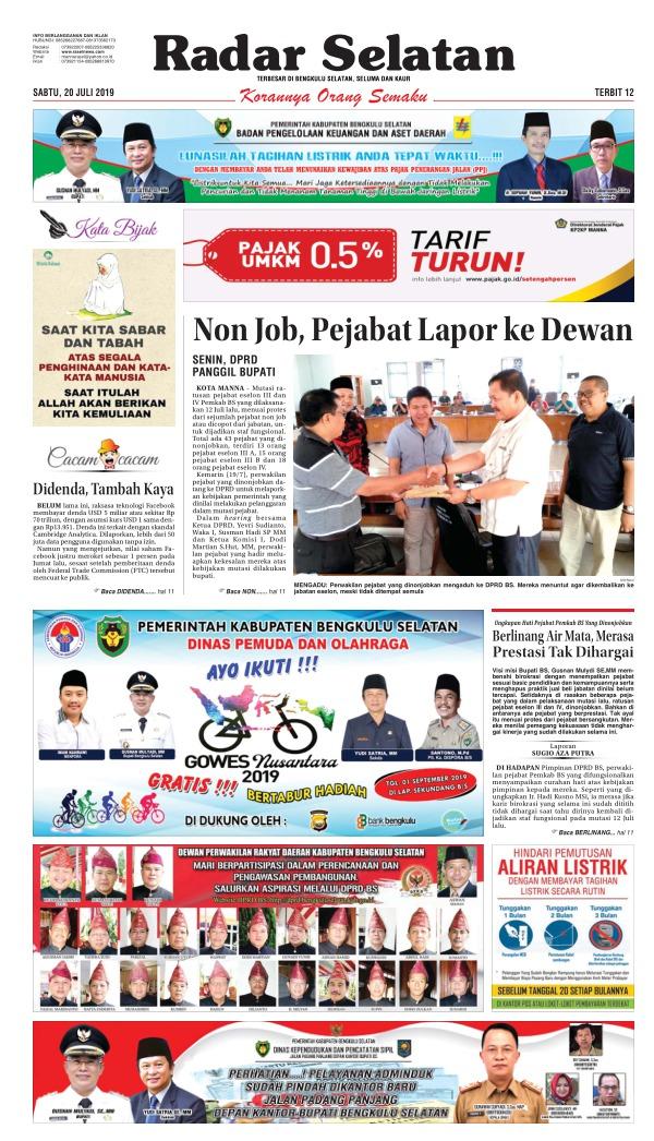 Koran Radar Selatan - Edisi 20 Juli 2019