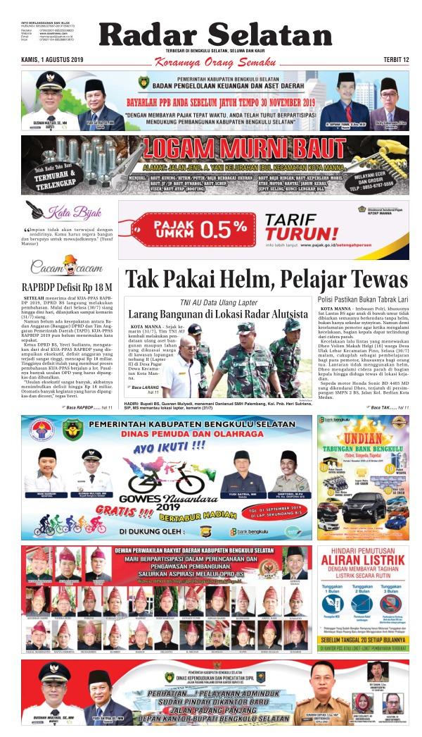 Koran Radar Selatan - Edisi 1 Agustus 2019
