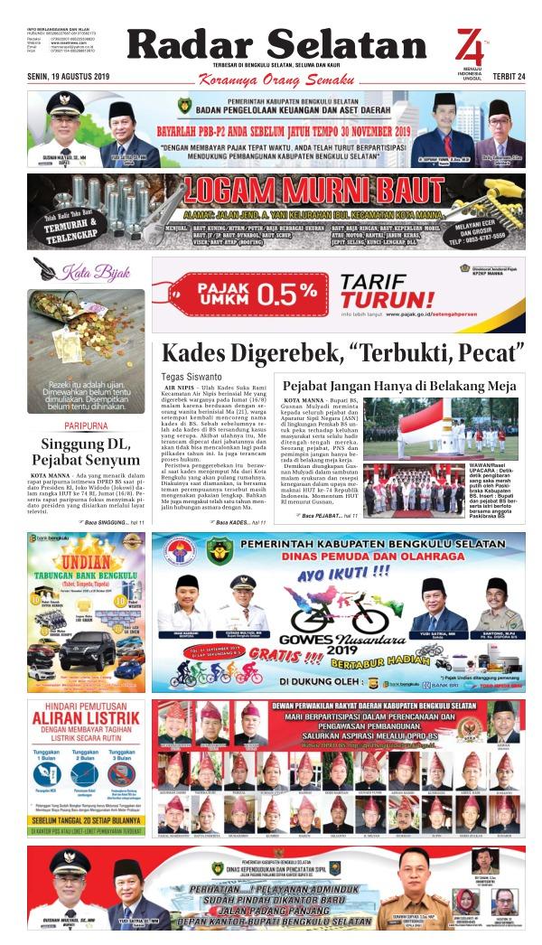 Koran Radar Selatan - Edisi 19 Agustus 2019