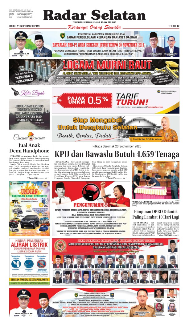Koran Radar Selatan - Edisi 11 September 2019