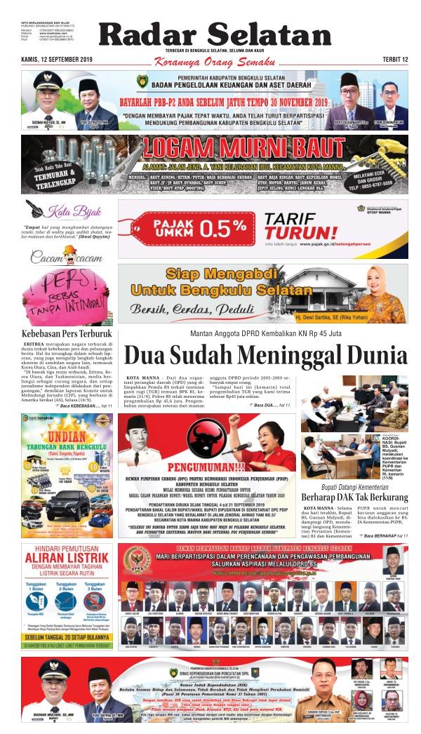 Koran Radar Selatan - Edisi 12 September 2019