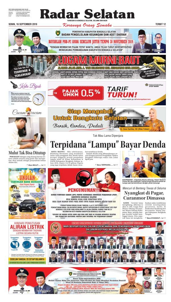 Koran Radar Selatan - Edisi 16 September 2019