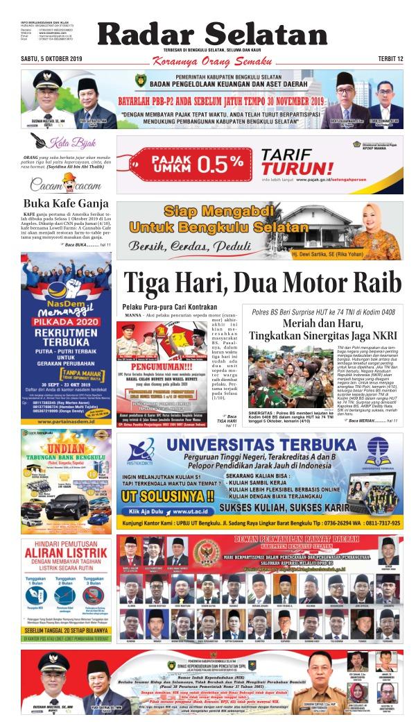 Koran Radar Selatan - Edisi 5 Oktober 2019