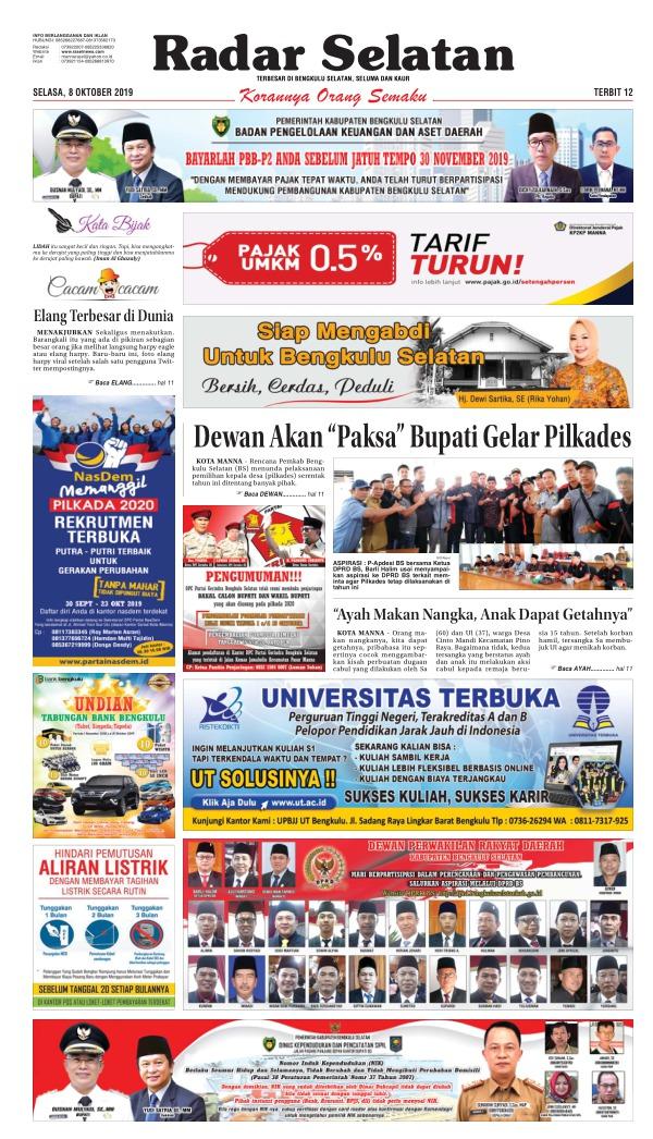 Koran Radar Selatan - Edisi 8 Oktober 2019