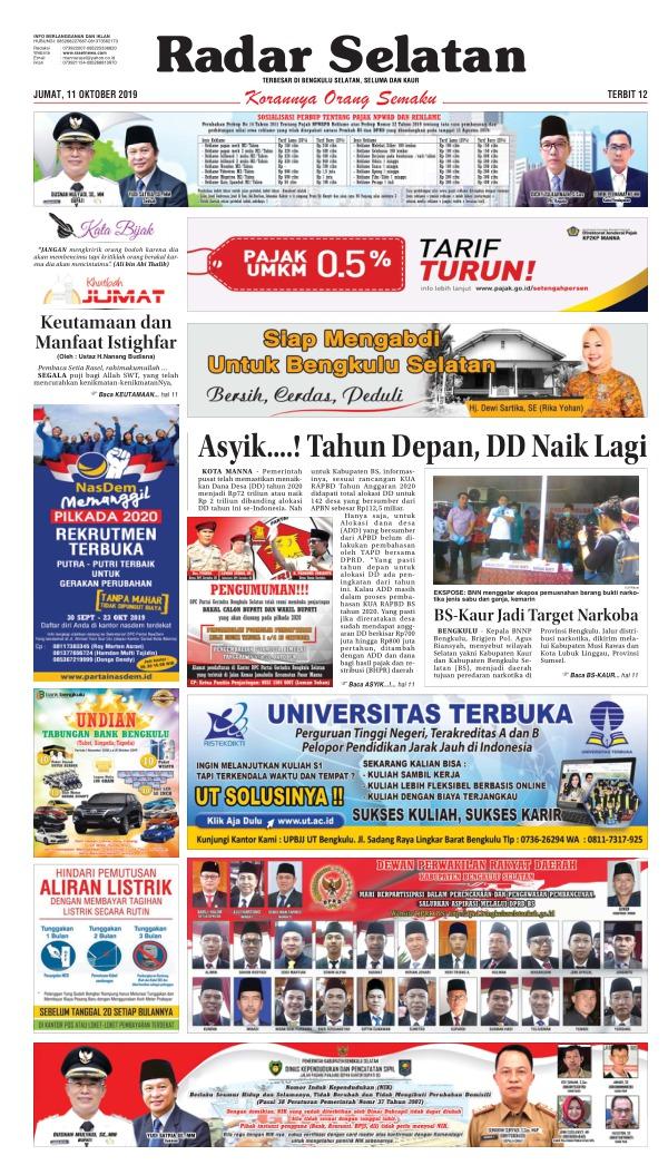 Koran Radar Selatan - Edisi 11 Oktober 2019