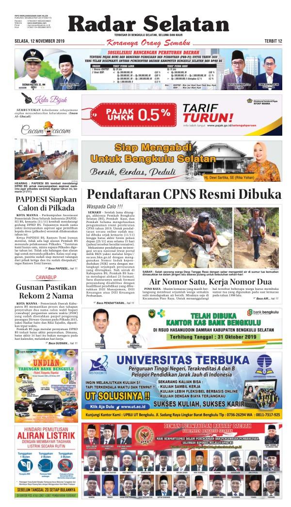 Koran Radar Selatan - Edisi 12 November 2019