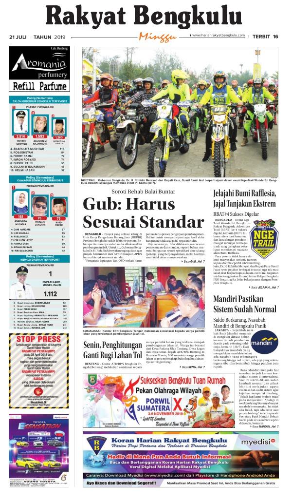 Koran Rakyat Bengkulu - Edisi 21 Juli 2019