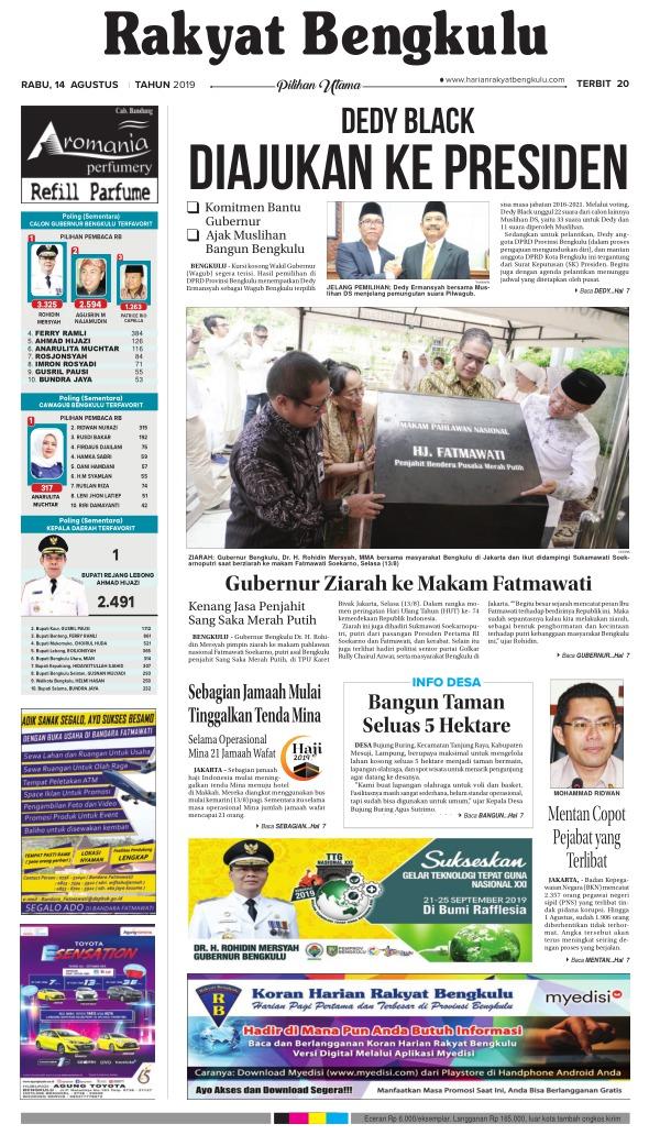Koran Rakyat Bengkulu - Edisi 14 Agustus 2019
