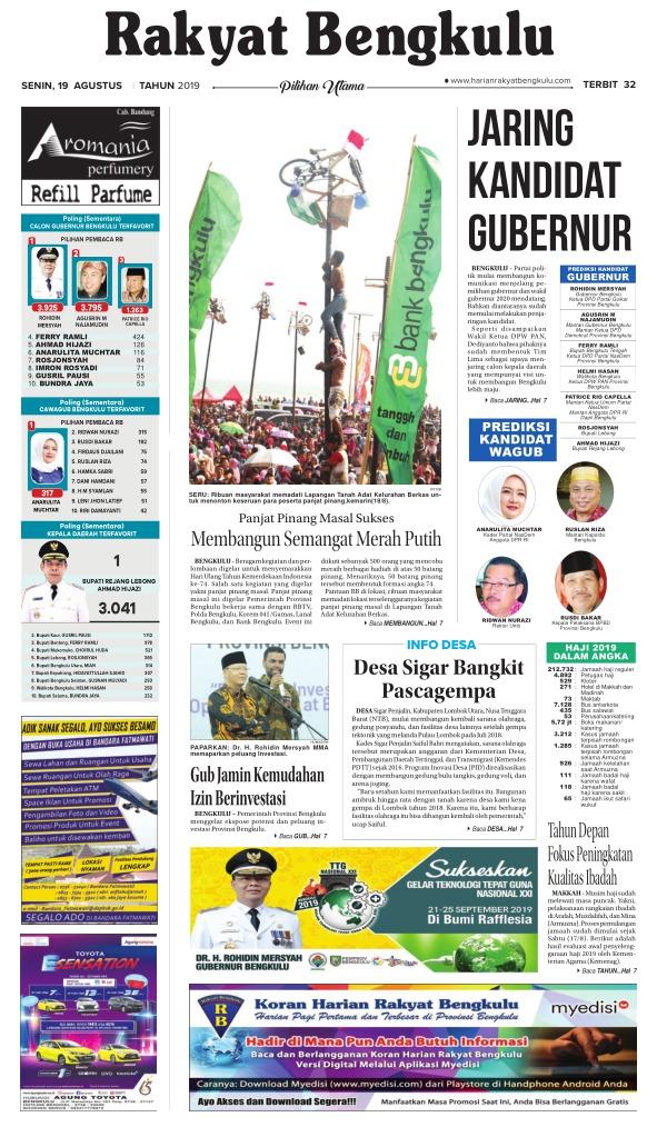 Koran Rakyat Bengkulu - Edisi 19 Agustus 2019