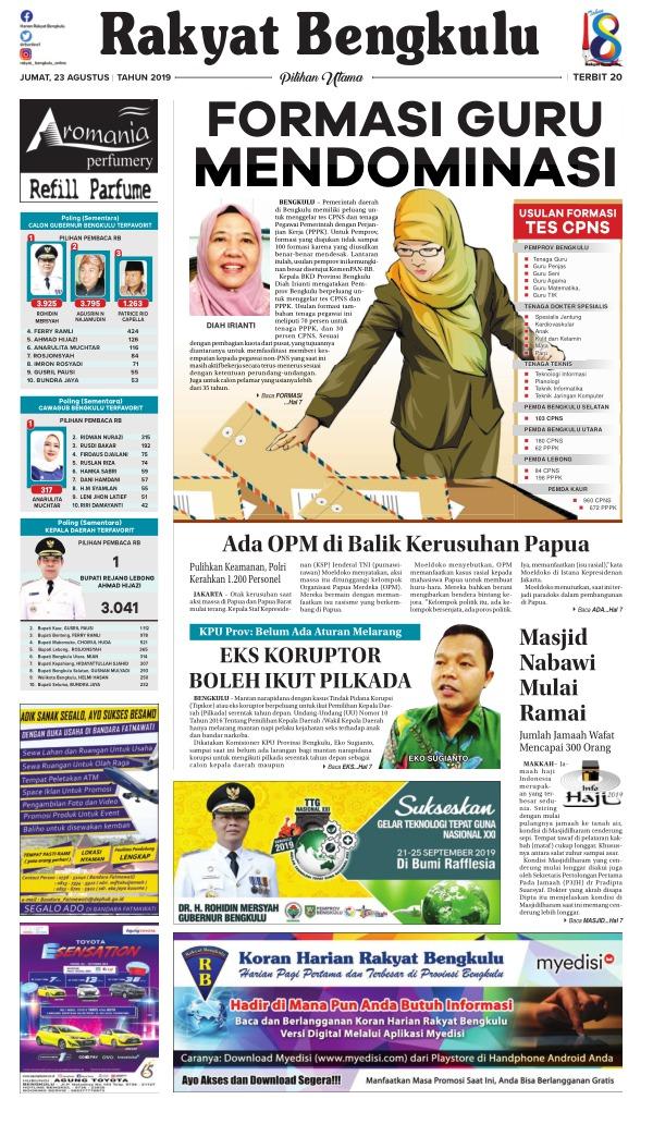 Koran Rakyat Bengkulu - Edisi 23 Agustus 2019