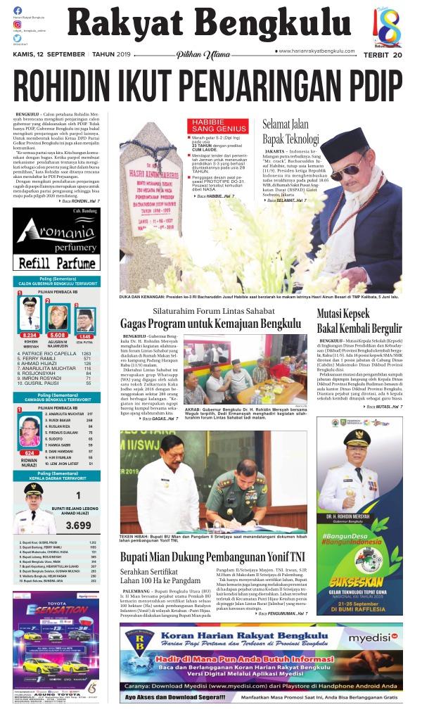Koran Rakyat Bengkulu - Edisi 12 September 2019