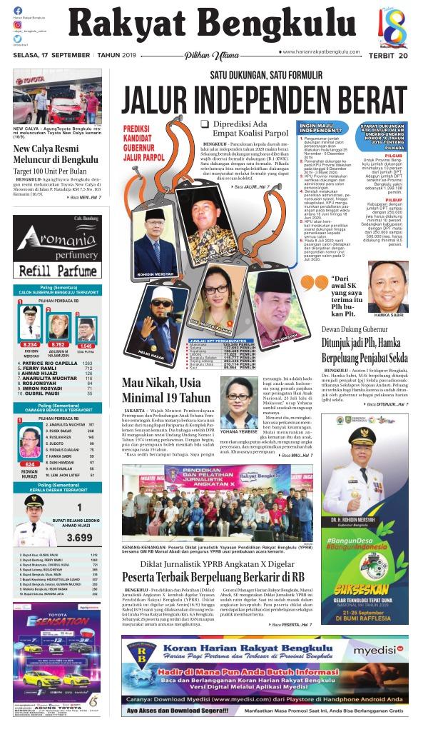 Koran Rakyat Bengkulu - Edisi 17 September 2019