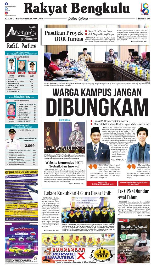 Koran Rakyat Bengkulu - Edisi 27 September 2019