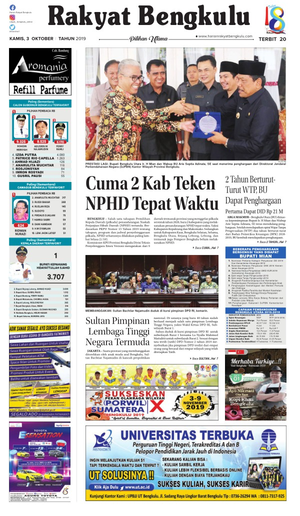 Koran Rakyat Bengkulu - Edisi 3 Oktober 2019