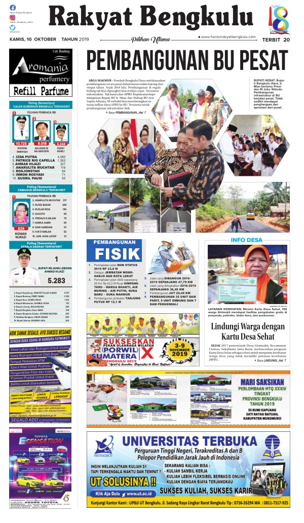 Koran Rakyat Bengkulu - Edisi 10 Oktober 2019