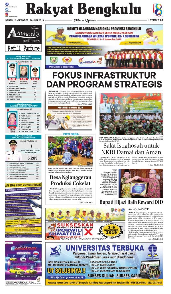 Koran Rakyat Bengkulu - Edisi 12 Oktober 2019