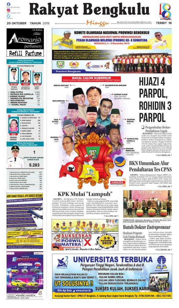 Koran Rakyat Bengkulu - Edisi 20 Oktober 2019
