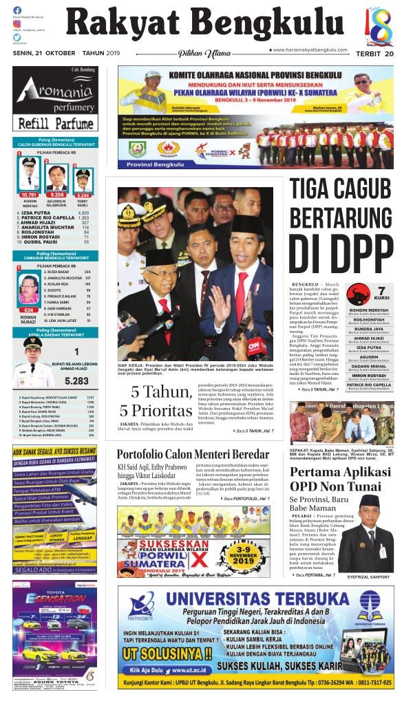Koran Rakyat Bengkulu - Edisi 21 Oktober 2019