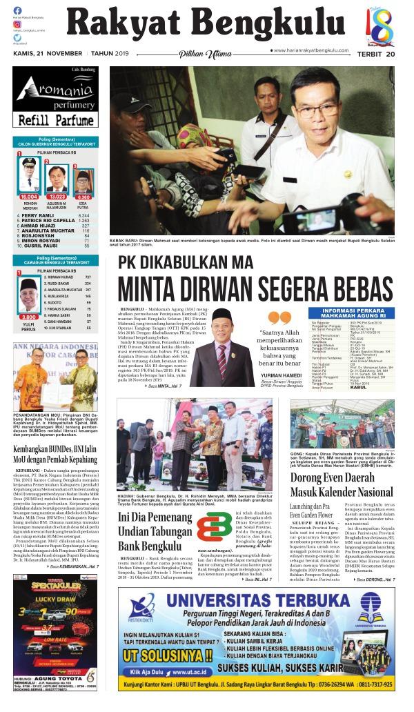 Koran Rakyat Bengkulu - Edisi 21 November 2019