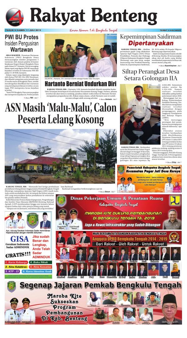 Koran Rakyat Benteng - Edisi 11 Juli 2019