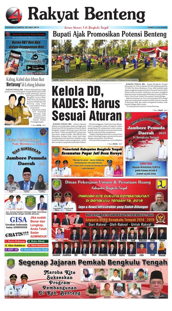 Koran Rakyat Benteng - Edisi 20 Juli 2019