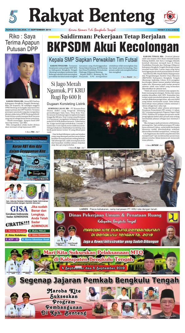 Koran Rakyat Benteng - Edisi 17 September 2019