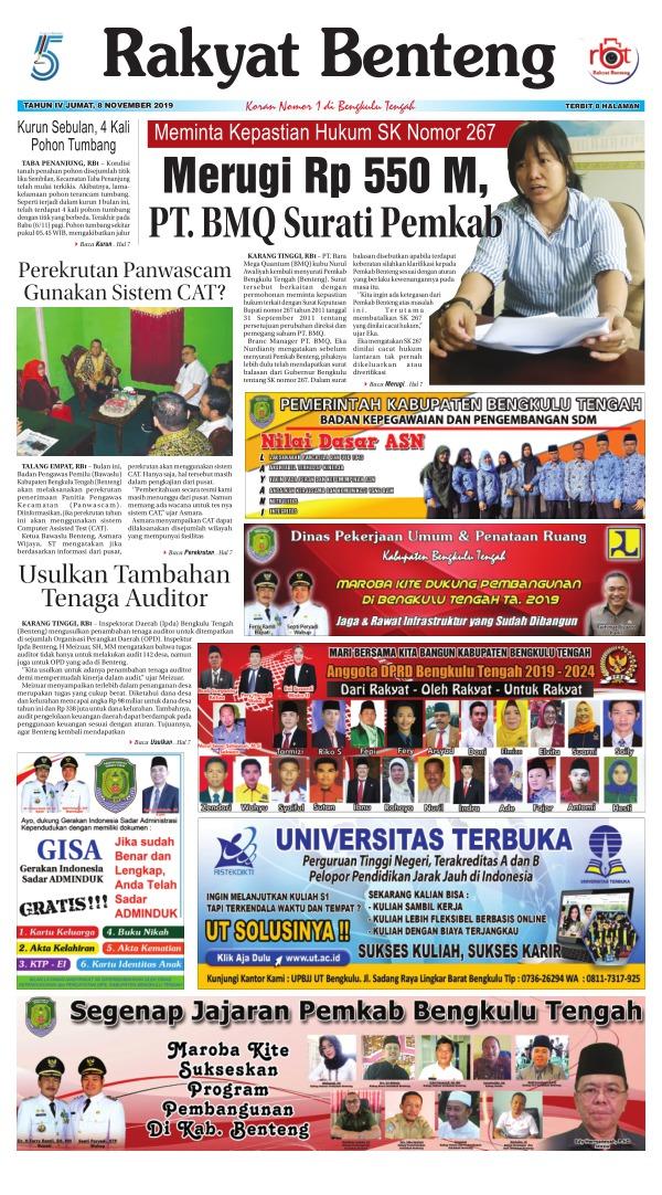 Koran Rakyat Benteng - Edisi 8 November 2019
