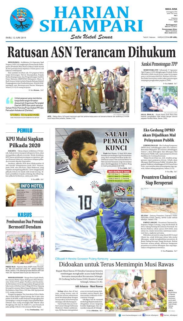 Koran Harian Silampari - Edisi 12 Juni 2019