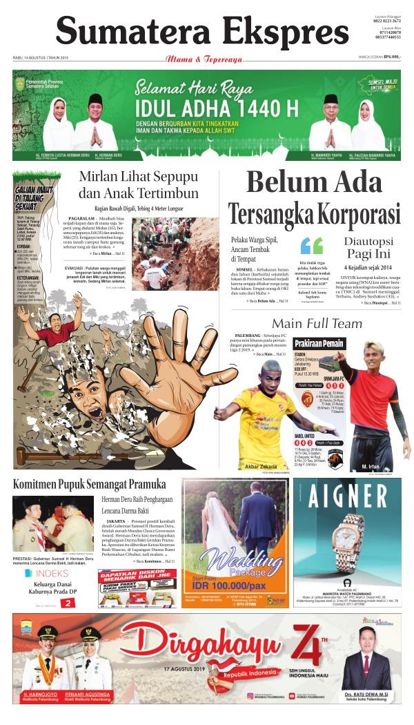 Koran Sumatera Ekspres - Edisi 14 Agustus 2019