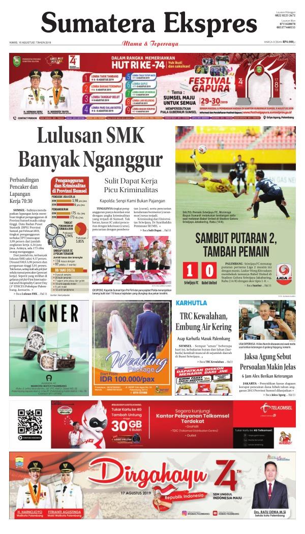 Koran Sumatera Ekspres - Edisi 15 Agustus 2019