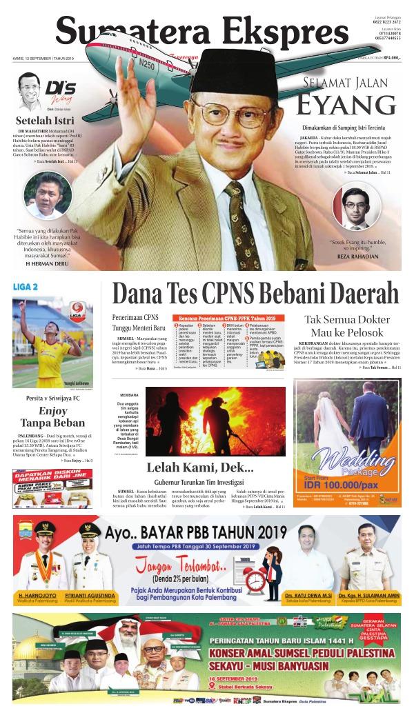 Koran Sumatera Ekspres - Edisi 12 September 2019
