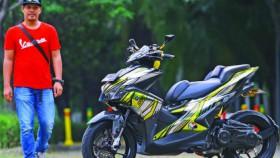 Yamaha Aerox 155 2017, sporty nan silau