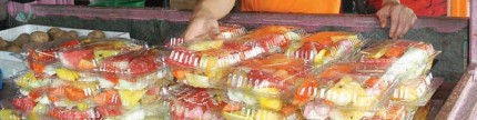 Rujak nibong lhokseumawe, Aceh Utara, buah batok & rumbia jadi bahan utama rujak